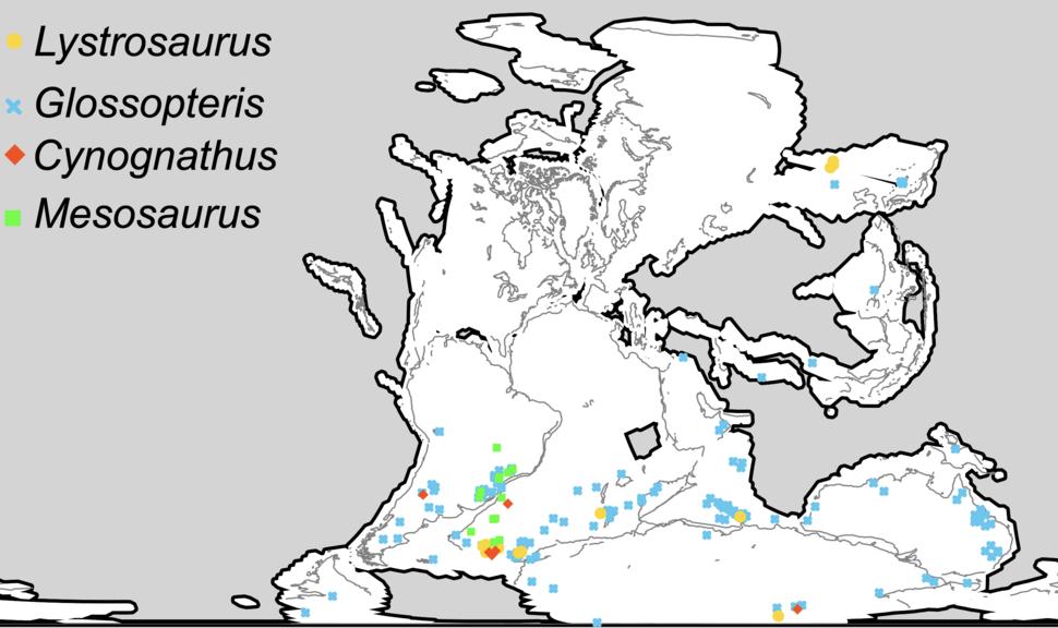 Wegener fossils-mapped
