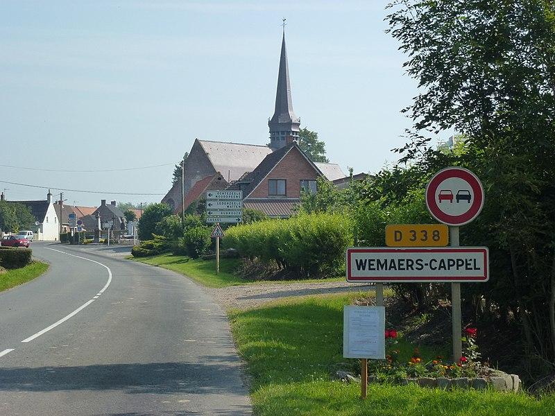 Wemaers-Cappel (Nord, Fr) city limit sign