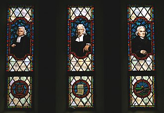 Religious experience - Three early Methodist leaders, Charles Wesley, John Wesley, and Francis Asbury, portrayed in stained glass at the Memorial Chapel, Lake Junaluska, North Carolina