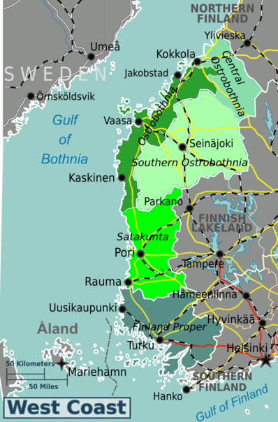 The West Coast of Finland is divided into five regions.