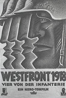 "Black-and-white movie poster featuring a stylized illustration of the profiled head of a helmeted man on the right, facing left. Behind him, and progressively to the left, are the front parts of three more such profiles, with nearly identical helmet tips, noses, lips, and chins, the title below is followed by the line ""Vier von der Infanterie""."