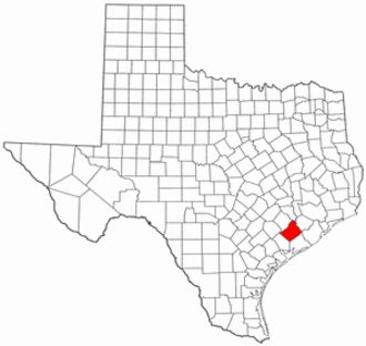 National Register of Historic Places listings in Wharton County, Texas - Location of Wharton County in Texas