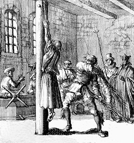 Judicial birching of a delinquent; Germany, 17th century - Birching