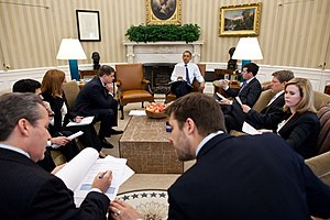 Jay Carney - Jay Carney (middle right) in a White House staff meeting in the Oval Office, May 11, 2011