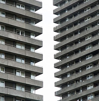Bluevale and Whitevale Towers - Zoomed image showing the towers' exterior balconies