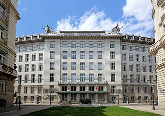 Austrian Postal Savings Bank - Main facade of the Österreichische Postsparkasse (P.S.K.) building in Vienna