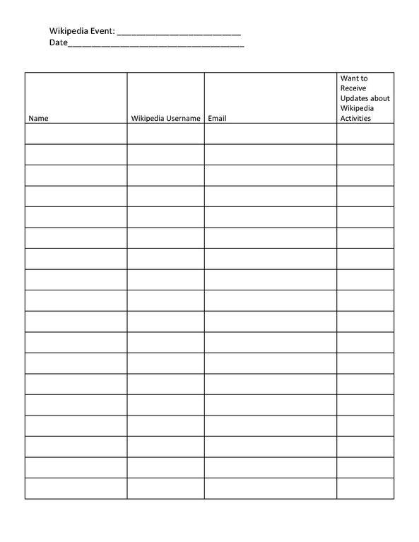 sign in worksheet