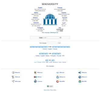 Wikiversity - Detail of the Wikiversity multilingual portal main page.