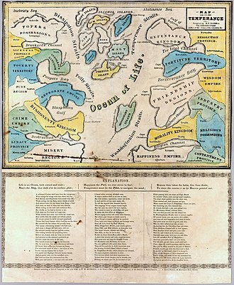 "Teetotalism - An allegorical map on temperance, accompanied by a lengthy poem. The ""Religion Channel"" was a strong current away from ""Misery Regions"" and the ""Reprobate Empire"",  1846"