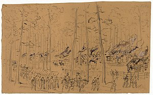 William Waud - Image: William Waud Burning of Mc Phersonville 1865 original sketch