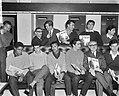 Willy Schobben bood spelers van Benfica plaat aan Vlnr Eusébio, Raúl, Santa, Bestanddeelnr 915-0291.jpg