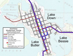 Grid plan - A simple grid plan road map (Windermere, Florida).