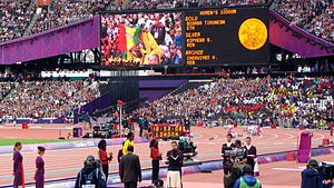 Athletics at the 2012 Summer Olympics – Women's 10,000 metres - Image: Women's 10,000m Victory Ceremony