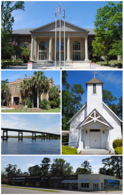 Top, left to right: Camden County Courthouse, Old Camden County Courthouse, Satilla River, St. Mark's Episcopal Church, Woodbine Historic District