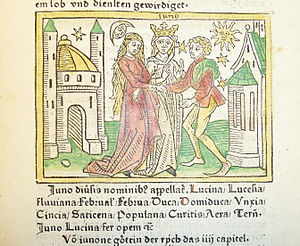 Woodcut illustration of the goddess Juno as patron of marriage - Penn Provenance Project