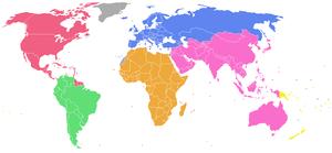 מפת העולם המחולקת לפי הפדרציות היבשתיות.
