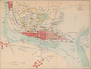 Yangon - Rangoon and Environ map, 1911