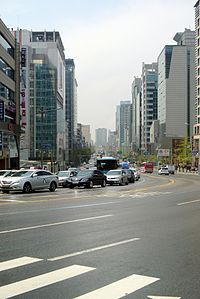 Yangwha-ro, view towards southwest from Donggyo-dong intersection