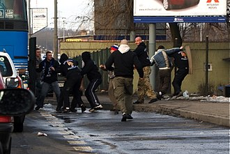 Polish football hooligans in violent clash Zabrze-Chorzow fight.jpg