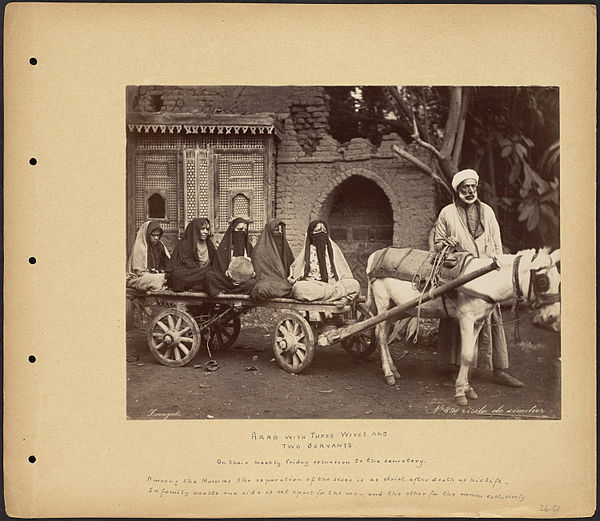 "Polygamy: ""Arab with Three Wives and Two Servants"", ca. 1860-1890"