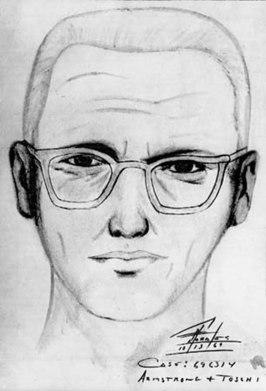 """Schets van de """"Zodiac Killer"""" door de San Francisco Police Department, 1969"""
