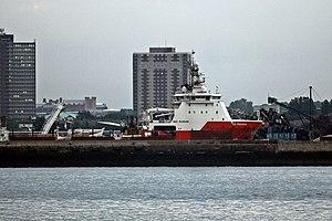 """Alexandra Dock, Liverpool - """"Go Pegasus"""" in Alexandra Dock, seen from across the River Mersey"""