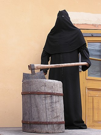 Executioner - Symbolic robed figure of a medieval public executioner at Peter and Paul Fortress, Saint Petersburg, Russia