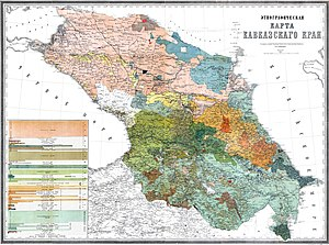 Caucasus Viceroyalty (1801–1917) - Ethnographic map of Russian Transcaucasia, 1880.