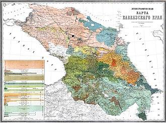 Caucasus Viceroyalty (1801–1917) - Ethnographic map of Russian Transcaucasia, 1880.