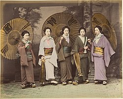 -Five Japanese Women in Traditional Dress with Parasols- MET DP155581.jpg
