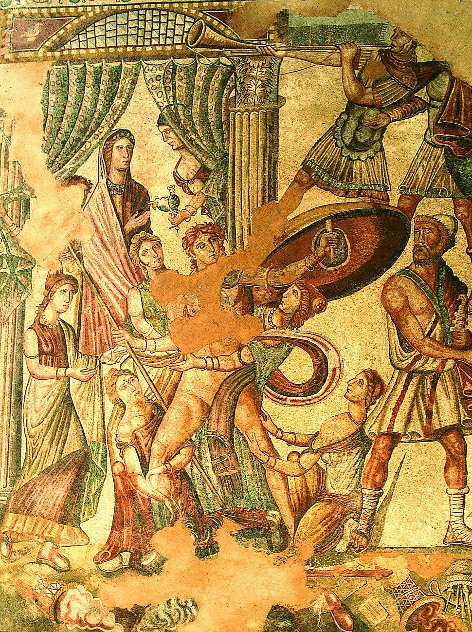 05-Mosaico del Oecus. Aquiles en Skyros alta