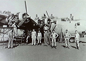 No. 102 Squadron RAAF - A No. 102 Squadron B-24 Liberator undergoing a routine inspection in 1945