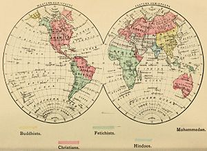 an 1883 map of the world divided into colors representing christians buddhists hindus mohammedans and pagans