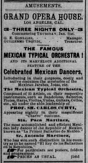 Carlo Curti - Advertisement for the Mexican Typical orchestra from the Los Angeles Herald, January 21, 1886.