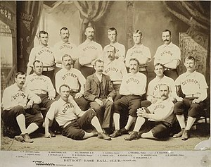 Ned Hanlon (baseball) - 1887 Detroit Wolverines: Hanlon 3rd from right in first row of seats