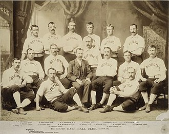 Sam Thompson - 1887 Detroit Wolverines -- Thompson 3rd from left in back row