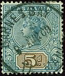 1892issue 5d Tasmania Barnes Bay Yv51 SG218.jpg