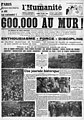 19360525 - L'Humanité - page 1 - 600 000 au mur !.jpg