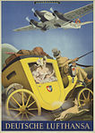 1936 circa Max Ullmann Plakat für die Deutsche Lufthansa, Junkers Ju 52 über einer Postkutsche.jpg