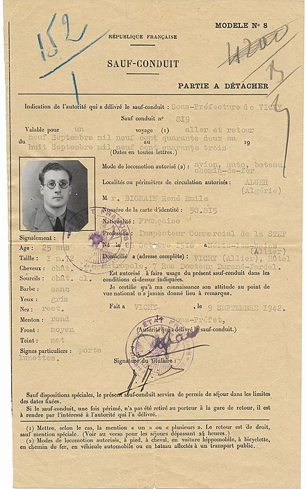 1942 Vichy France safe-conduct passport used for Algeria. 1942 Vichy France safe-conduct passport used for Algeria.jpg