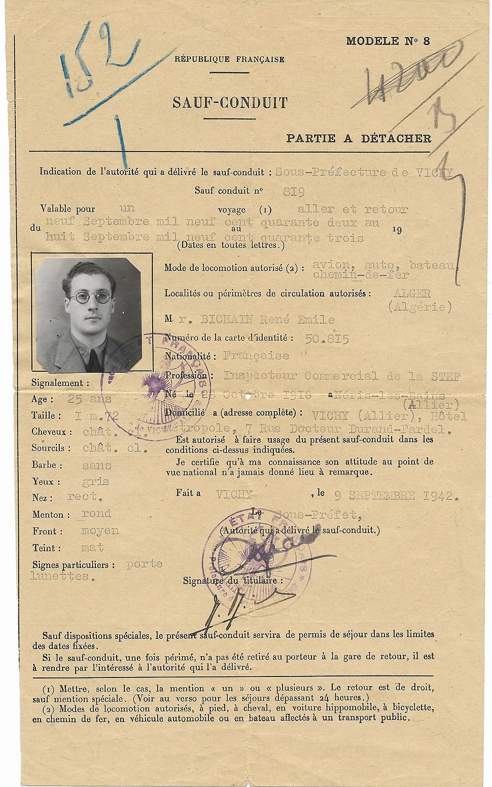 1942 Vichy France safe-conduct passport used for Algeria