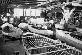 Sailing at the 1952 Summer Olympics - Finn dinghies under construction by Borresens Baadebygger, Denmark