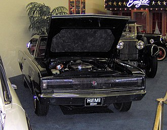 1966 NASCAR Grand National Series - A 1966 Dodge Charger displays the 426 c.i. Hemi engine which dominated the 1966 NASCAR season