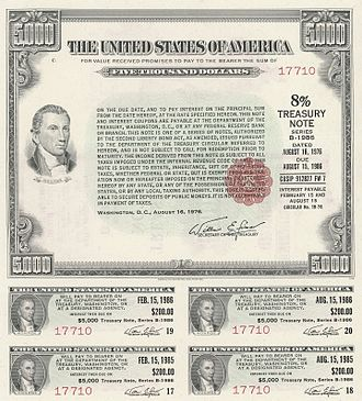 United States Treasury security - Image: 1976 $5000 8% Treasury Note