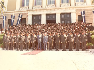 Hellenic Military Academy - Class of 1981, in the middle the then President of the Republic Konstantinos Karamanlis.