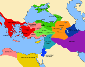 Bithynia and Pontus - A map of Asia Minor in 89 BC at the start of the First Mithridatic War. Bithynia, light red, is shown as a client kingdom of Rome, dark red. Pontus is shown in dark green.
