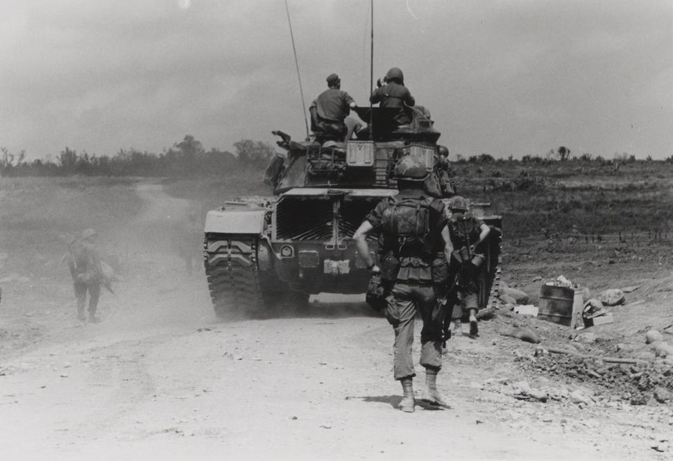 2.4 Marines patrol with a tank south of Con Thien