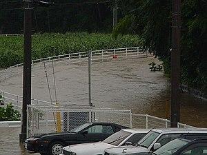 Typhoon Chataan - Flood waters from Chataan in Kōriyama, Fukushima