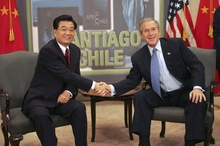 George W. Bush and Hu Jintao of China meet while attending an APEC summit in Santiago de Chile, 2004 20041120-1 bushchinamtg-1-515h.jpg