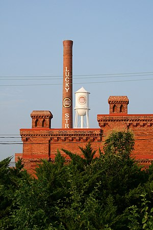 English: Lucky Strike chimney and water tower ...